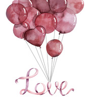 Pink Balloons Love Word Watercolor