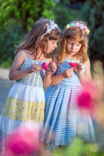 Fotografia  Cute, little girls, sisters, twins in colorful dresses in the garden, watching p