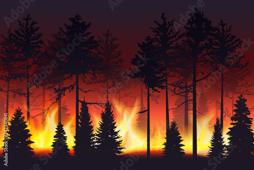 Forest fire realistic silhouette landscape vector illustration. Tablou Canvas