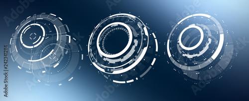 Fotografie, Tablou  3D Isolated Futuristic Circle Elements Set