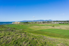 Golf Course On The Cliffs Of The Pacific Ocean Coast, Resort And Villas In The Background, Half Moon Bay, California