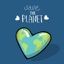 Save The Planet. Vector Illustration On Blue Background. A Earth Globe. Lettering. Logo. Concept Of Energy Saving And Ecology. Heart Shaped Globe