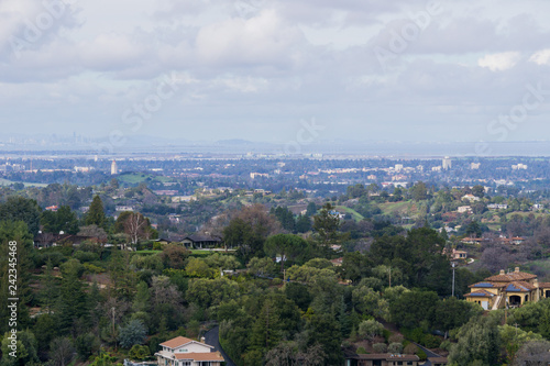 Fotografie, Obraz  Panoramic view of the Peninsula on a cloudy day; view towards Los Altos, Palo Al