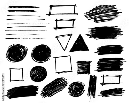 Brush strokes set vector painted isolated objects Fototapeta