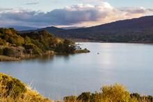 Crystal Springs Reservoir At Sunset, San Francisco Bay Area, California