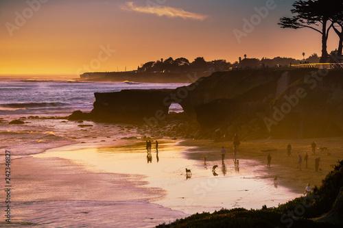 Sunset on the Pacific Ocean coastline, Santa Cruz, California Wallpaper Mural