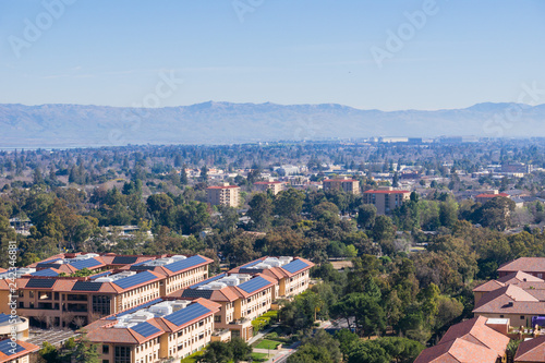 View towards Palo Alto, Stanford and the towns of south San Francisco bay Wallpaper Mural