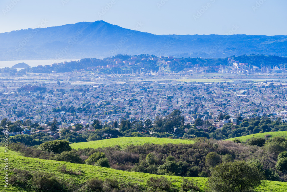 Fototapety, obrazy: View towards Richmond from Wildcat Canyon Regional Park, East San Francisco bay, Contra Costa county, Marin County in the background, California