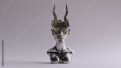 Fotografía Silver Antique Horned Demon Queen Statue Bust 3d illustration 3d render