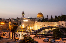 View Of The Old City At The Western Wall And Temple Mount In The Evening, In Jerusalem, Israel.