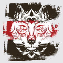 Vector Hand Drawn  Illustration Of Wolf With Decorative Elements. Artwork In Boho Style. Hand Sketched Portrairt Of Animal. Template For Card Poster Banner Print For T-shirt.