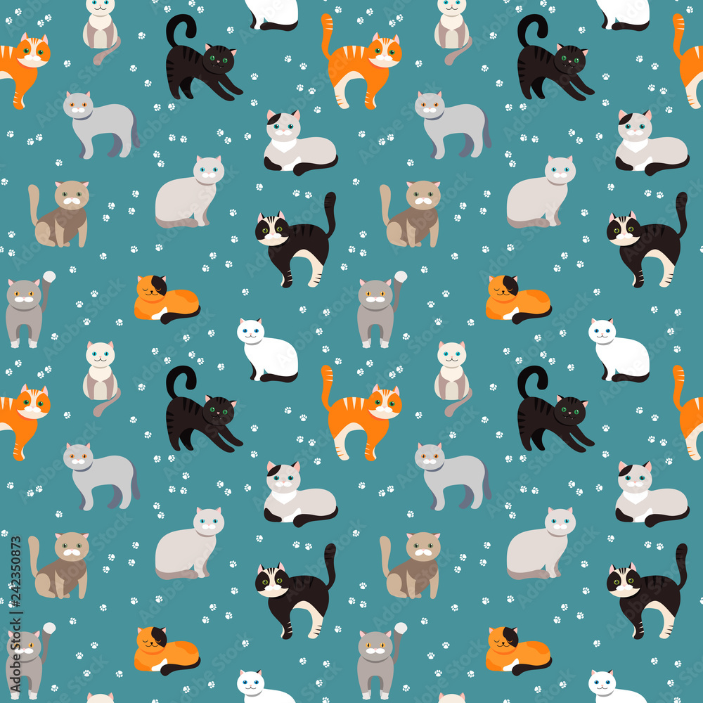 Cat background, seamless pattern. Vector flat illustration. Kitty, Pets.