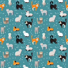 Cat Background, Seamless Patte...