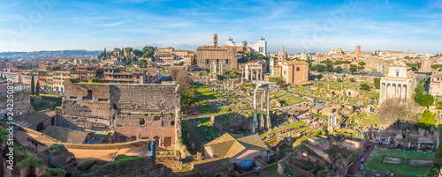 Foto op Plexiglas Rudnes Ancient ruins of Forum panorama in a sunny day in Rome, Italy.