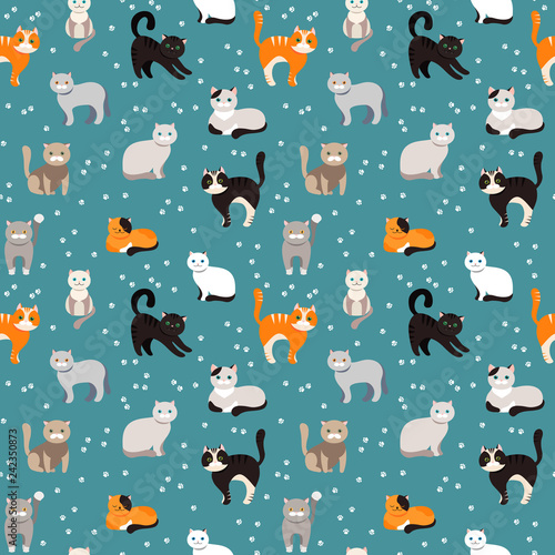 obraz lub plakat Cat background, seamless pattern. Vector flat illustration. Kitty, Pets.