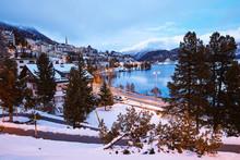 Saint Moritz Town In Winter Season At Sunset