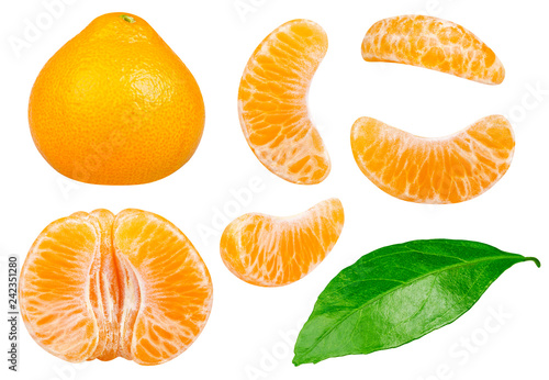 Isolated tangerines collection. Whole tangerine or mandarin orange fruit and peeled segments isolated on white background with clipping path