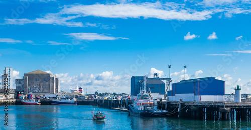 Boats docked at the marina of Keroman-La Base, Lorient, Brittany, France. Horizontal view.