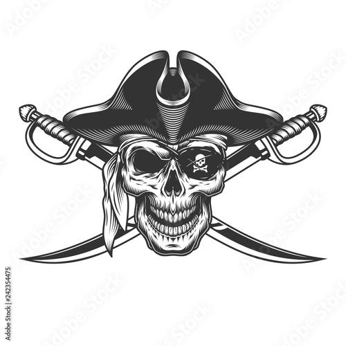 Vintage monochrome skull in pirate hat Fototapeta
