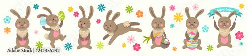 Fotografía Set of cute Easter cartoon characters rabbits and design elements flowers