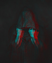 Anaglyph Effect Of Human In Bl...