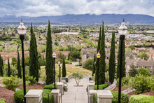 Grand Staircase On Cloudy And Rainy Day And View Towards The A Residential Neighborhood, Communications Hill, San Jose, California