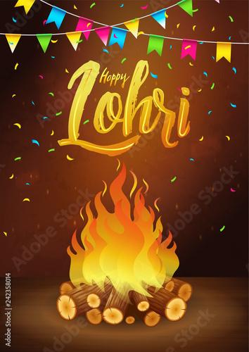Fotografia, Obraz  Happy Lohri holiday banner, greeting card, Punjabi festival celebration, party i