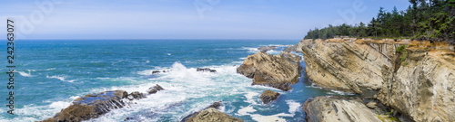 Panorama of the dramatic shoreline with strange rock formations at Shores Acres Wallpaper Mural