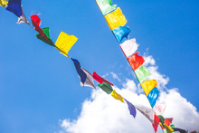 Multicolored Buddhist Flags On...
