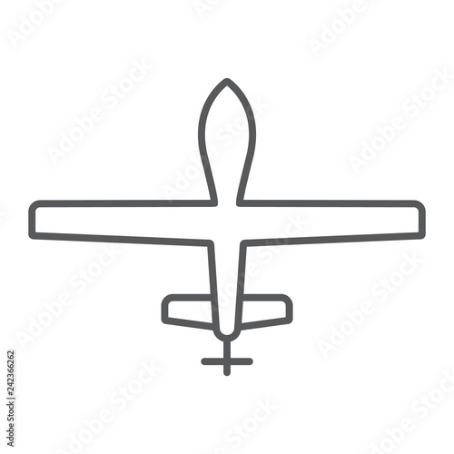 Photo  Unmanned aerial thin line icon, military and vehicle, drone sign, vector graphics, a linear pattern on a white background