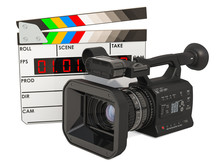 Cinema Concept. Professional Video Camera With Digital Clapperboard, 3D Rendering
