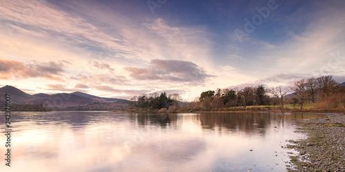Derwent water lake district cumbria england uk at sunset Tablou Canvas