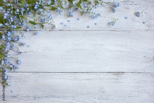 Forget-me-nots on a wooden background