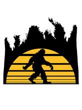Palmen Urlaub Sonne Insel Ferien Paradies Meer Bigfoot Silhouette Comic Yeti Monster Cartoon Affe Groß Fabeltier Schnee Weiß Menschenaffe Lustig Riese Berge Winter Clipart Design