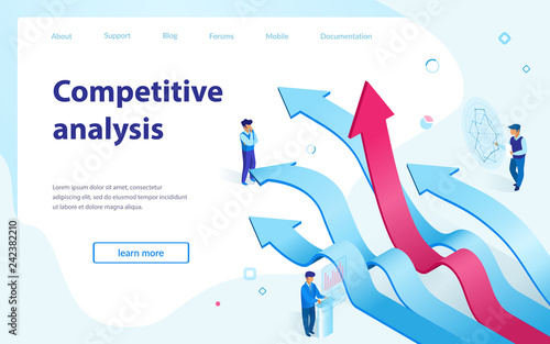 Fotografía  Competitive Analysis Isometric Vector Webpage
