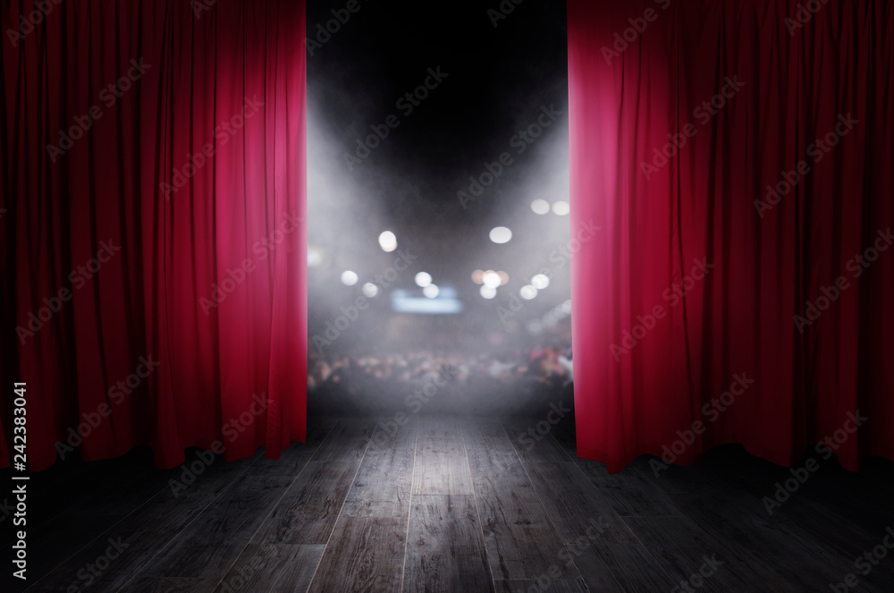 Fototapeta The red curtains are opening for the theater show