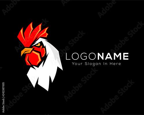 Canvas Print Modern chicken , rooster in black background template logo design inspiration