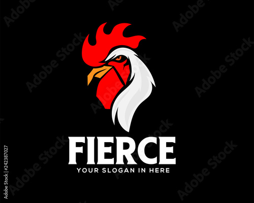 Foto elegant chicken , rooster in black background template logo design inspiration