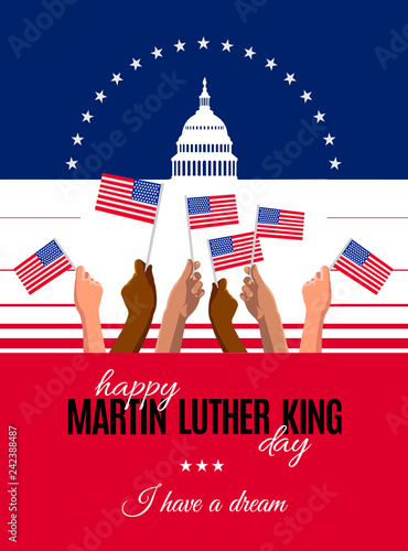 Photo  Happy Martin Luther King Day placard, poster or greeting card