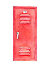 """Red Locker Watercolour Drawing. Furniture To Leave Things For Storage. One Single Object, Front View, Sign With Number """"ten"""", Air Ventilation. Handdrawn Water Colour Painting On White, Cutout Clipart."""