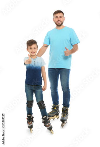 Printed kitchen splashbacks Artist KB Father and son with roller skates on white background