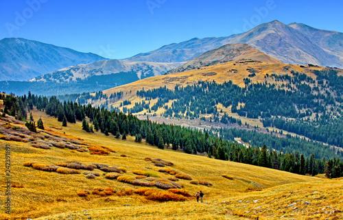 Foto auf Leinwand Honig Hikers at Colorado's Boreas Pass, near Breckenridge