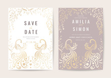 Wedding Invitation And Card With Luxury Floral And Peacock Feathers Vector Illustration.