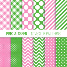 Preppy Green And Pink Gingham, Chevron, Polka Dots And Candy Stripes Seamless Vector Patterns. Modern Geometric Backgrounds. Repeating Pattern Tile Swatches Included.