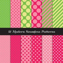 Strawberry Pinks, Green And Lime Green Mixed Polka Dots And Candy Stripes Seamless Vector Patterns. Perfect For Strawberry Theme Girl's Birthday Party Decor. Repeating Pattern Tile Swatches Included.