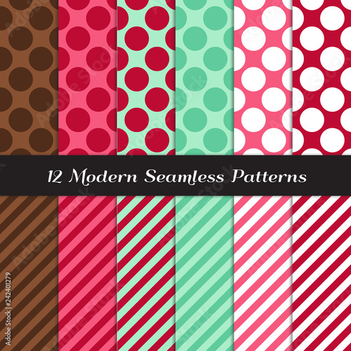 Mint, Chocolate Brown, Raspberry and Strawberry Pinks Jumbo Polka Dot and Candy Stripe Seamless Vector Patterns Wallpaper Mural
