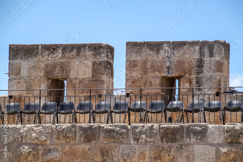 Fotografie, Obraz  Chairs lined up for show at Tower of David Citadel, Jerusalem