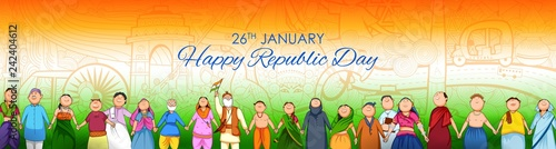 Fényképezés  People of different religion showing Unity in Diversity on Happy Republic Day of