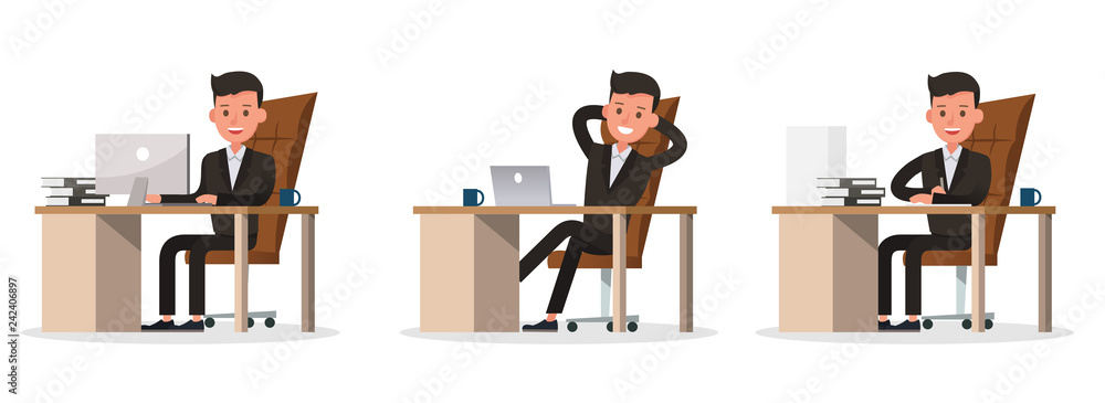 Fototapeta business people character vector design. Presentation in various action and working. no44