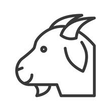 Goat Head Vector, Farm Animal Line Style Editable Stroke Icon